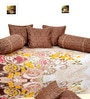 Brown Cotton Floral Diwan Set - Set of 6 by Salona Bichona