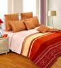 Brown Cotton Abstract 98 x 86 Inch Double Bedsheet (with Pillow Covers) by Salona Bichona