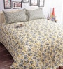 Salona Bichona Gray Cotton Floral 98 x 86 Inch Bed Sheet Set (with Pillow Covers)