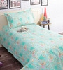 Green 100% Cotton Single Size Bedsheet - Set of 2 by Salona Bichona