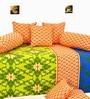 Orange & Green Cotton Diwan Set - Set of 8 by Salona Bichona