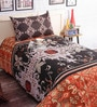 Salona Bichona Multicolor Cotton 86 x 60 Inch Bed Sheet (with Single Pillow Cover)