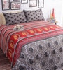Salona Bichona Multicolor Cotton 98 x 86 Inch Double Bed Sheet (with Pillow Covers)