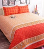 Salona Bichona Orange Cotton 98 x 86 Inch Double Bed Sheet (with Pillow Covers)