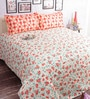 Salona Bichona Orange Cotton Floral 98 x 86 Inch Bed Sheet Set (with Pillow Covers)