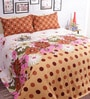 Salona Bichona Orange Cotton Geometric Bed Sheet Set (with Pillow Covers)