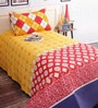 Salona Bichona Orange Cotton Stripes & Checks Bed Sheet Set (with Pillow Cover)