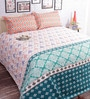 Salona Bichona Oranges Cotton Abstract Double Bed Sheet (with Pillow Covers)