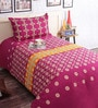 Salona Bichona Pink Cotton 86 x 60 Inch Double Bed Sheet (with Pillow Cover)