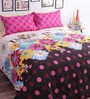 Salona Bichona Pink Cotton Geometric Bed Sheet Set (with Pillow Covers)