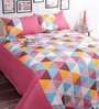 Pink Poly Cotton Queen Size BedSheet - Set of 3 by Salona Bichona