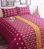 Salona Bichona Purple Cotton 98 x 86 Inch Double Bed Sheet (with Pillow Covers)