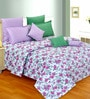 Salona Bichona Purple Cotton Floral 98 x 86 Inch Double Bedsheet (with Pillow Covers)