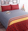 Salona Bichona Red Cotton Geometric Bed Sheet Set (with Pillow Covers)
