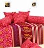 Salona Bichona Red Cotton Abstract Diwan Set - Set of 8