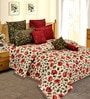 Salona Bichona Red Cotton Floral 98 x 86 Inch Double Bedsheet (with Pillow Covers)