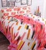 Salona Bichona White & Red Abstract Double Bed Sheet Set