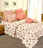 Salona Bichona White Cotton Floral 98 x 86 Inch Double Bedsheet (with Pillow Covers)