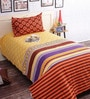 Salona Bichona Yellow Cotton Abstract Bed Sheet Set (with Pillow Cover)