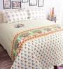 Salona Bichona Yellow Floral Double Bed Sheet Set