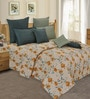 Salona Bichona Yellow Cotton Floral 98 x 86 Inch Double Bedsheet (with Pillow Covers)