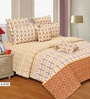 Yellow Cotton Stripes & Checks 106 x 106 Inch Bed Sheet Set (with Pillow Covers) by Salona Bichona