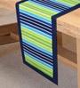 Sanjeev Kapoor's Bon Appetit Aquacado Stripe Cotton 54 x 12 Inch Table Runner
