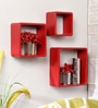Home Red Engineered Wood Cube Wall Shelves - Set of 3 by AYMH