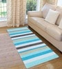 Blue Cotton 72 x 28 Inch Premium Quality Multi Purpose Rug by Saral Home
