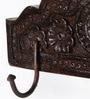 Satyam International Multicolour Solid Wood Carved 2-Hook Key Holder