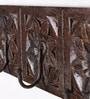 Multicolour Solid Wood Carved 4-Hook Key Holder by Satyam International