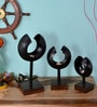 Savvy Art Black Iron & Wood Metropolis Candle Stand - Set of 3