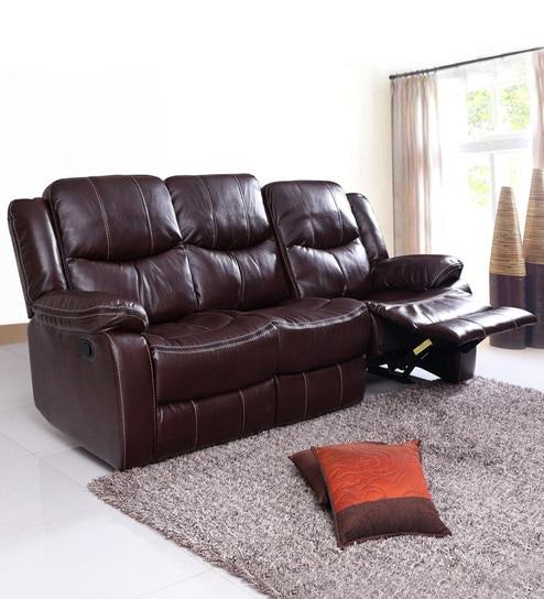 three seater recliner sofa gray fabric scotland three seater recliner sofa in brown leatherette by evok buy