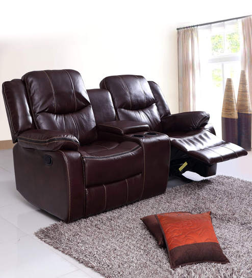 2 Seater Recliner Sofa In Brown Colour