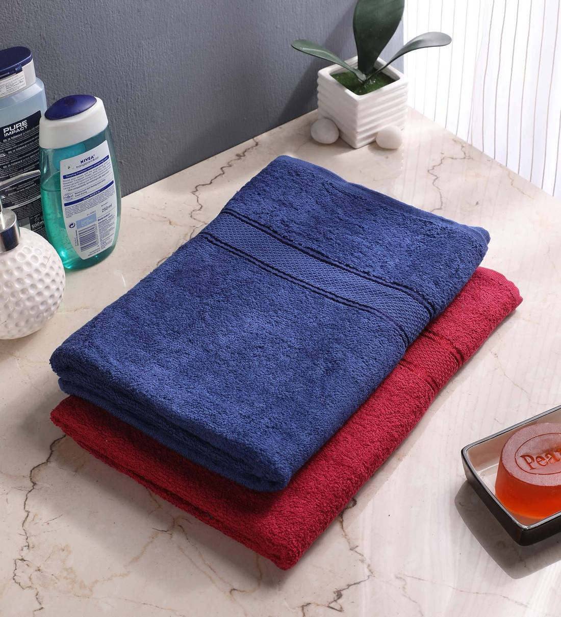 Buy Set Of 2 Maroon Navy Blue Cotton 360 Gsm Bath Towels By Eurospa Online Solid Colour Bath Towels Bath Towels Furnishings Pepperfry Product