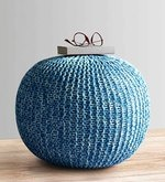 Senorita Knitted Cotton Pouffe in White & Aqua Colour
