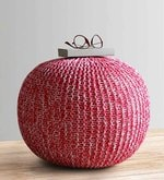 Senorita Knitted Cotton Pouffe in White & Fuschia Colour