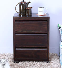 Segur Bed Side Table With Three Drawers In Warm Chestnut Finish