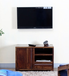 Segur Small Entertainment Unit In Warm Chestnut Finish