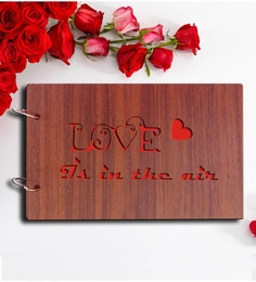 Sehaz Artworks Brown Wood 10 X 4 X 6 Inch Love Is In The Air Pasted Scrap Book Photo Album