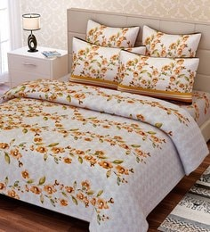 SEJ By Nisha Gupta Green Cotton 88 X 108 Inch Floral Queen Bed Sheet Set