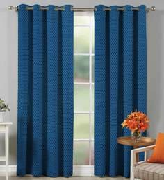5aeb9f89b5008 100% Cotton Self Dobby Design Blue Color Eyelet Curtain Long Door Curtain  ...