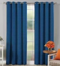 100 Cotton Self Dobby Design Blue Color Eyelet Curtain Door 45 5x86