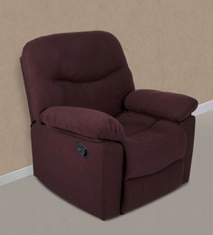 Servia One Seater Manual Recliner Sofa In Dark Brown Colour