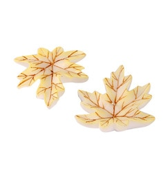 Market Finds White Leaf Candles - Set Of Two