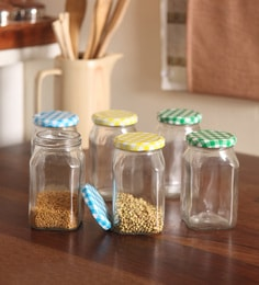 Set Of 6 Pc Multi Colour Lid - Yellow + Blue + Green Glass Jar 400 ML Square