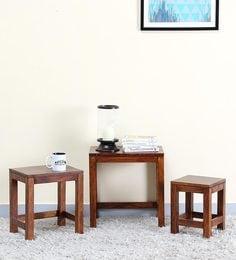 Oriel Set Of Tables In Honey Oak Finish