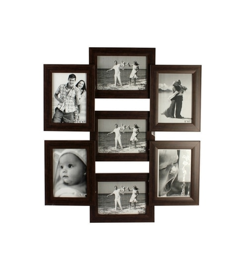 snap galaxy brown synthetic wood 5 x 7 inch frame photo collage