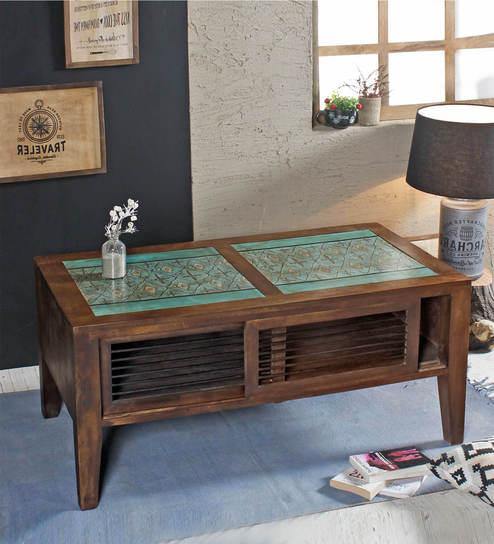 Beau Seba Teal Handpainted Coffee Table In Paintco Walnut Finish By Fabuliv