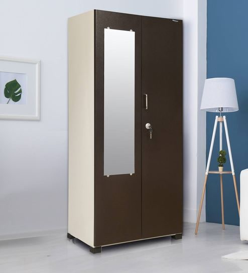 Securo Two Door Mirror Wardrobe in Brown and Ivory Colour By Nilkamal
